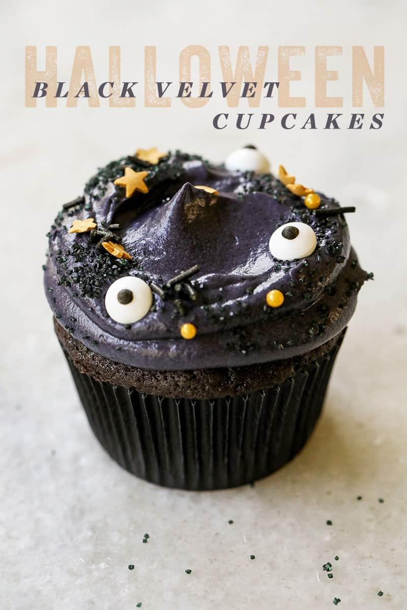 black velvet cupcake with sprinkles