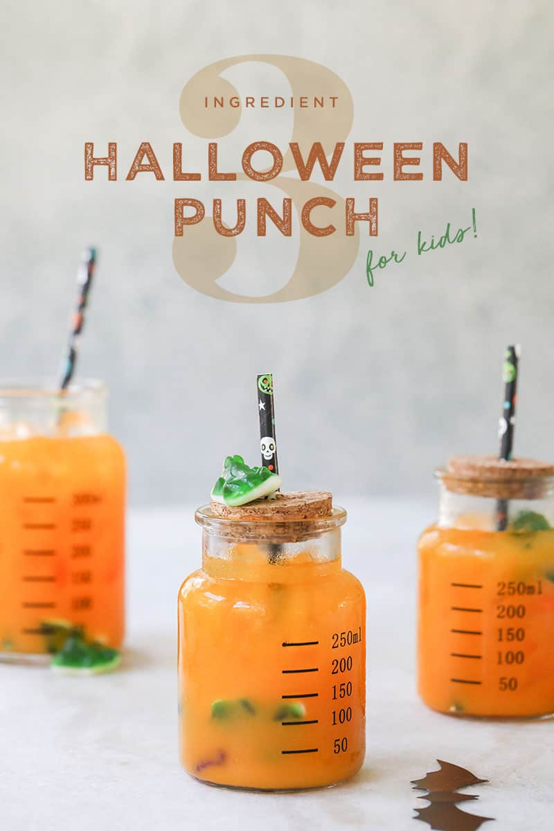 halloween punch for kids in jars with dummies