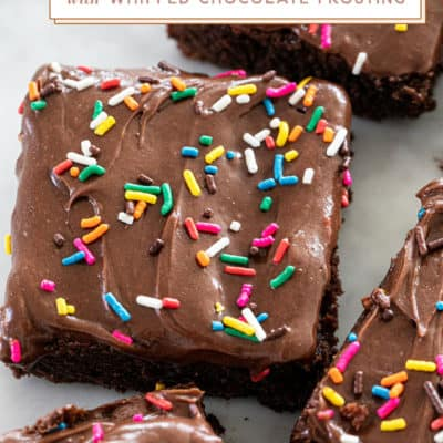 Homemade Brownies with Whipped Chocolate Frosting