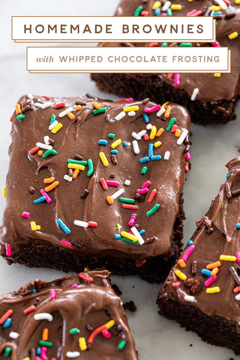 Chocolate brownies with sprinkles and frosting
