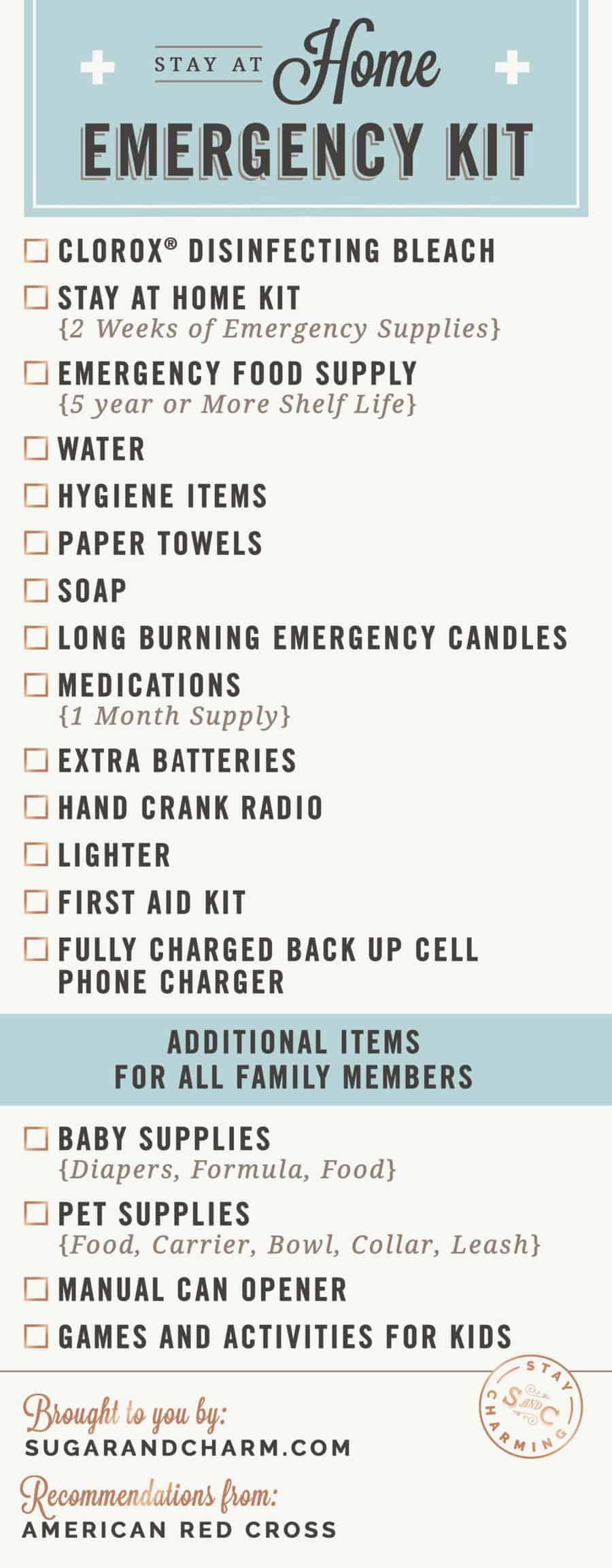 list of items for evacuation kit
