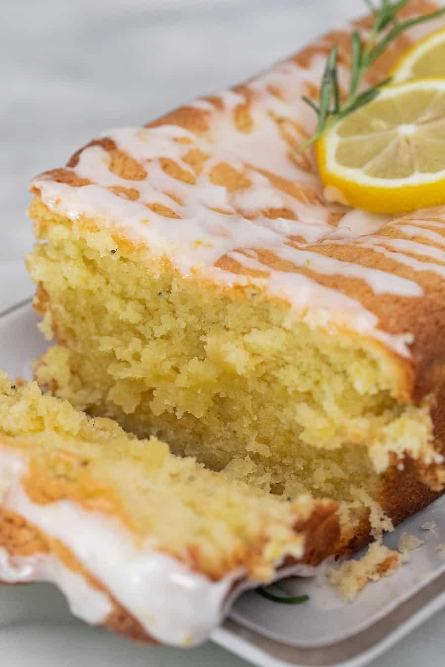 Super moist lemon loaf cake with glaze