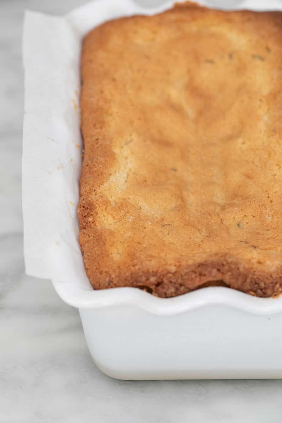 Golden brown bakes loaf cake