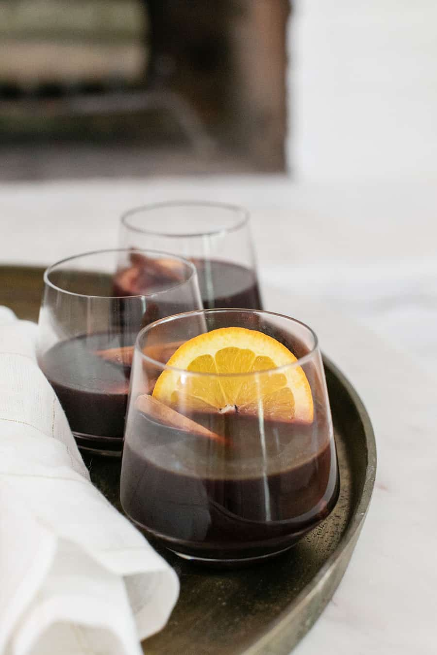 mulled wine with orange slice