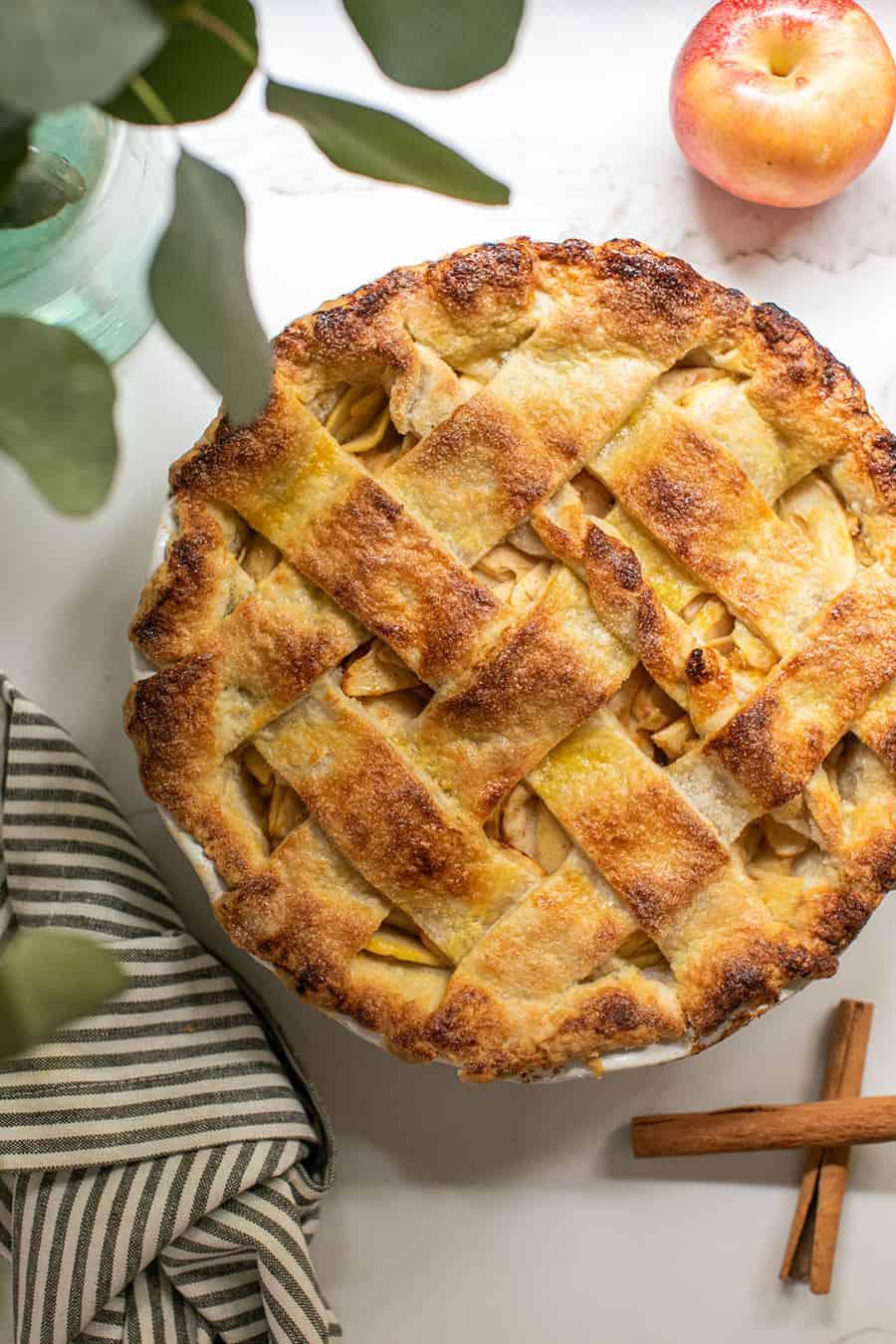 Golden brown apple pie