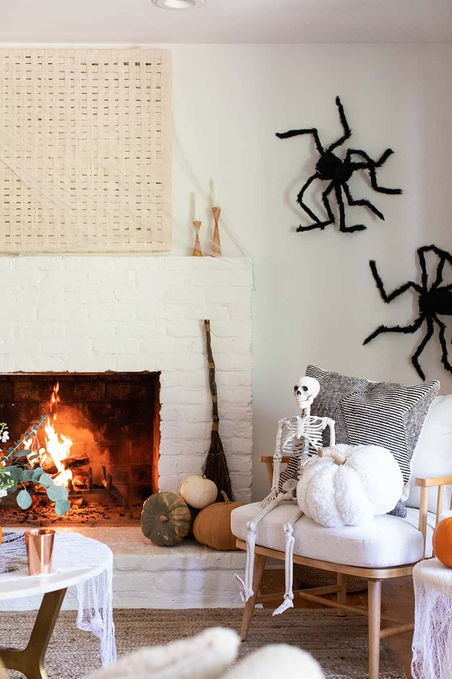 Halloween Home Decor with spiders and skeletons