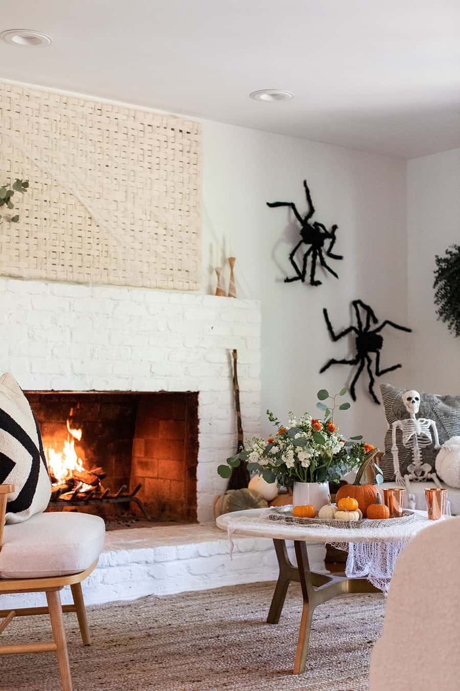 Fireplace and Halloween decorations
