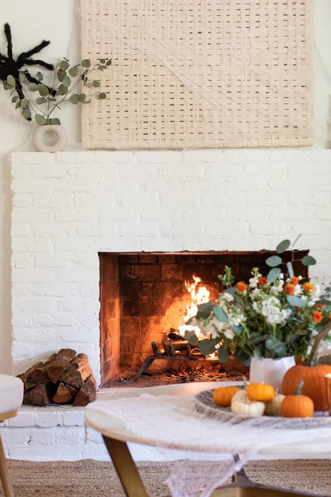 Flowers, fireplace and spooky cheap Halloween decorations