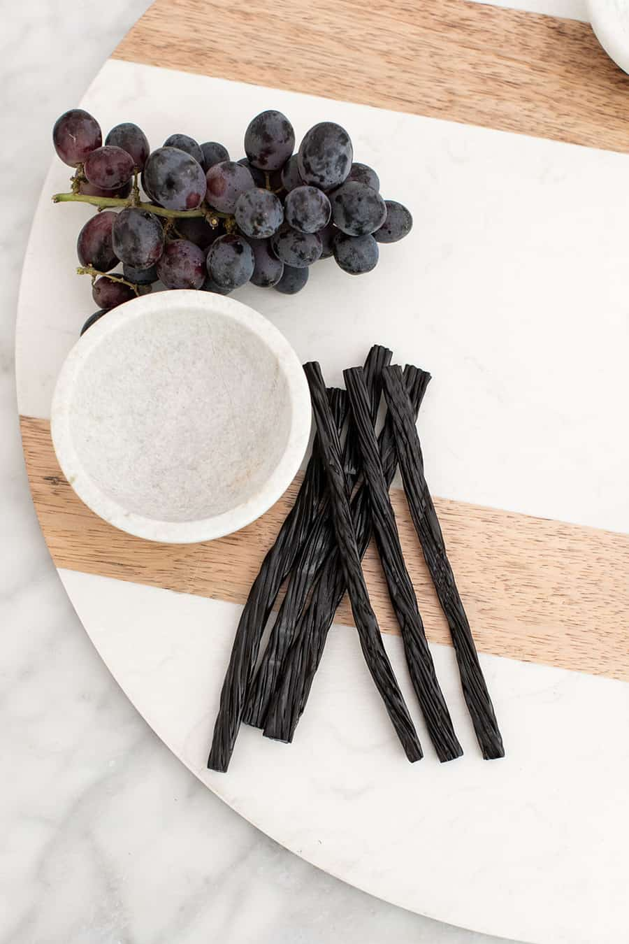 Black licorice on a platter to make a Halloween dessert
