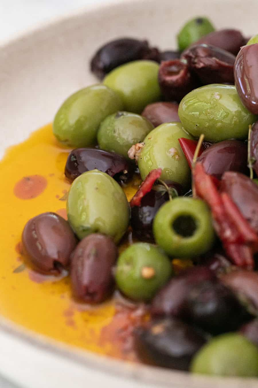 green and kalamata marinated olives