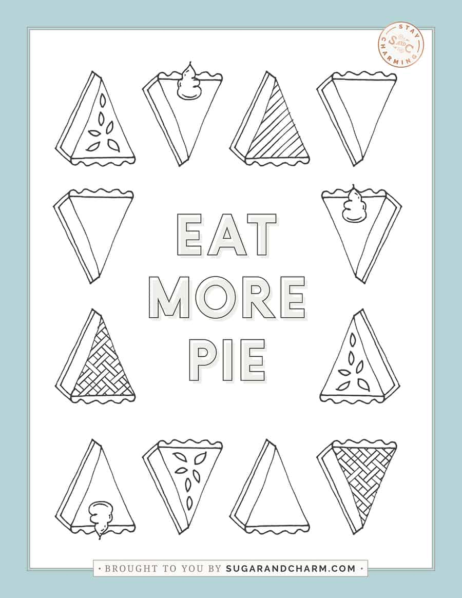 Eat more pie Thanksgiving coloring page