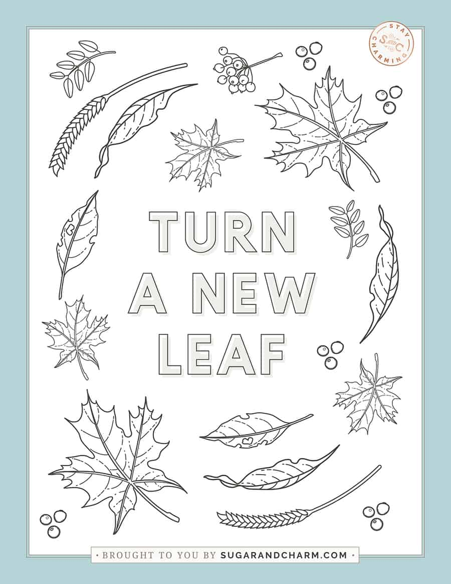 Turn a new leaf coloring page for Thanksgiving