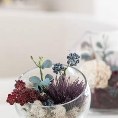 How to Make Fall Glass Terrariums