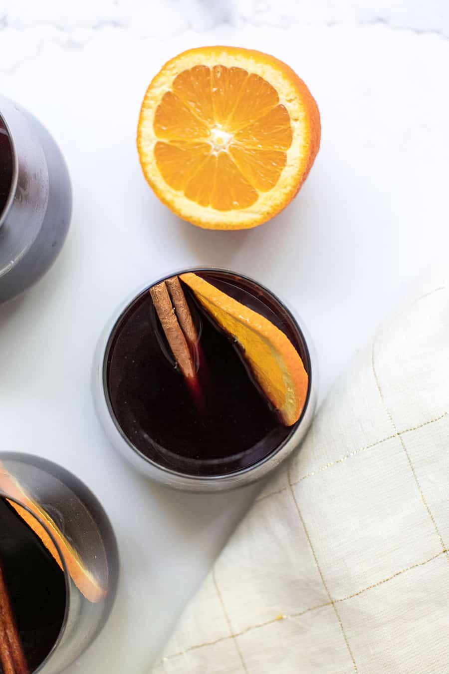 Mulled cider with orange slice