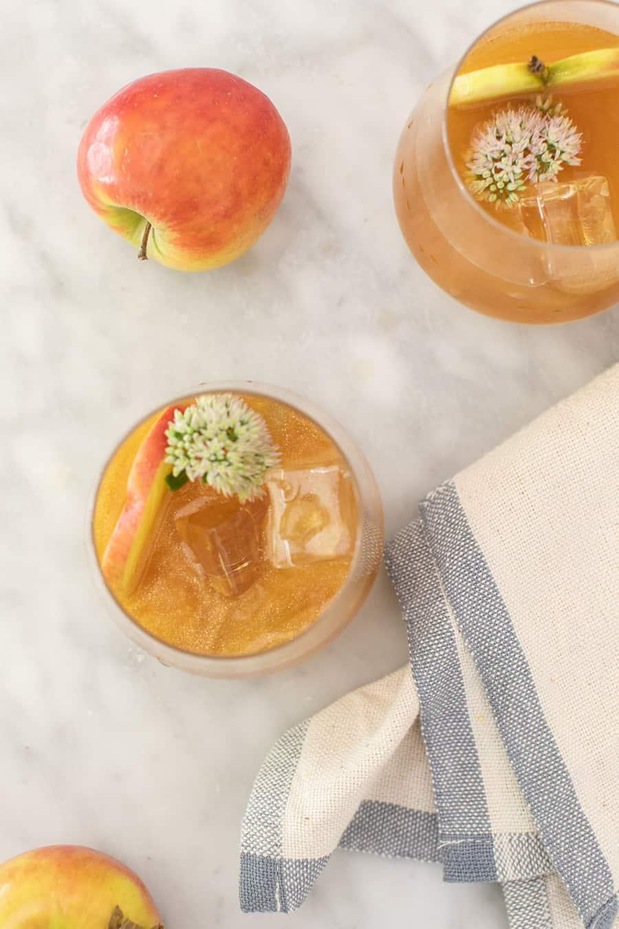 Shimmering apple cocktails