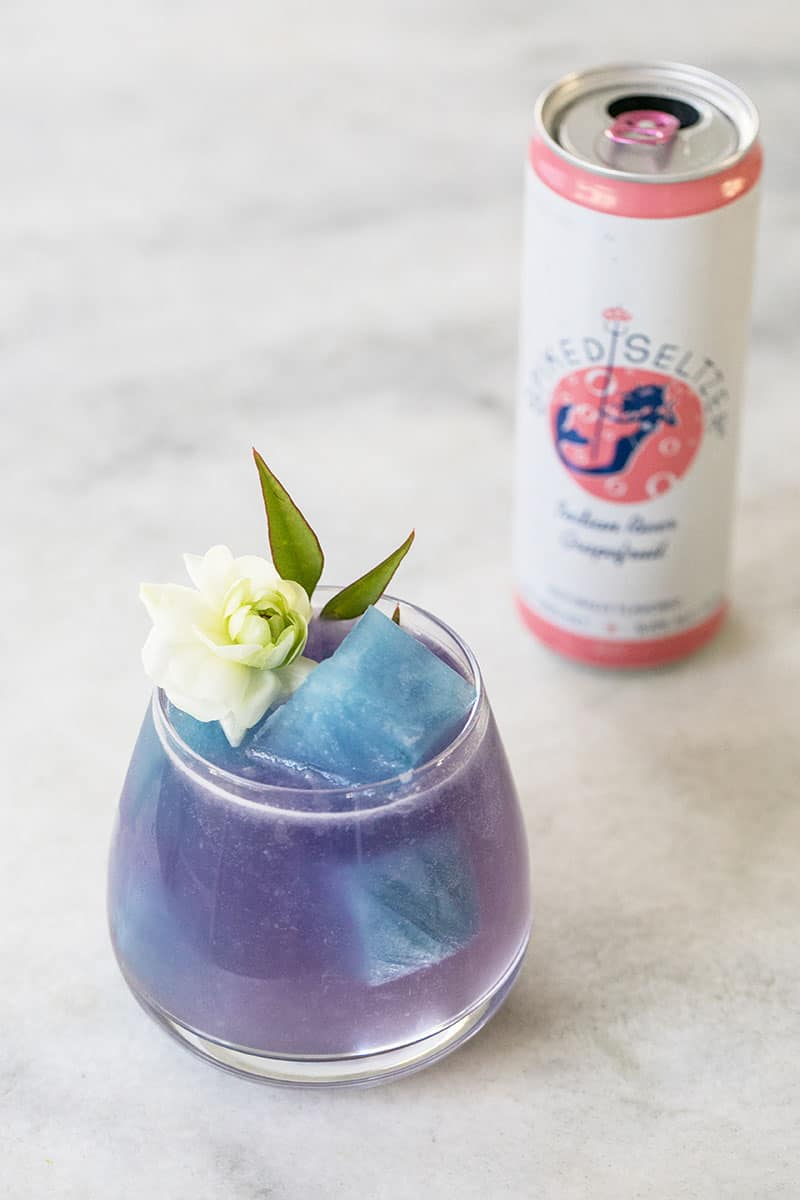 Mermaid cocktail with blue flower