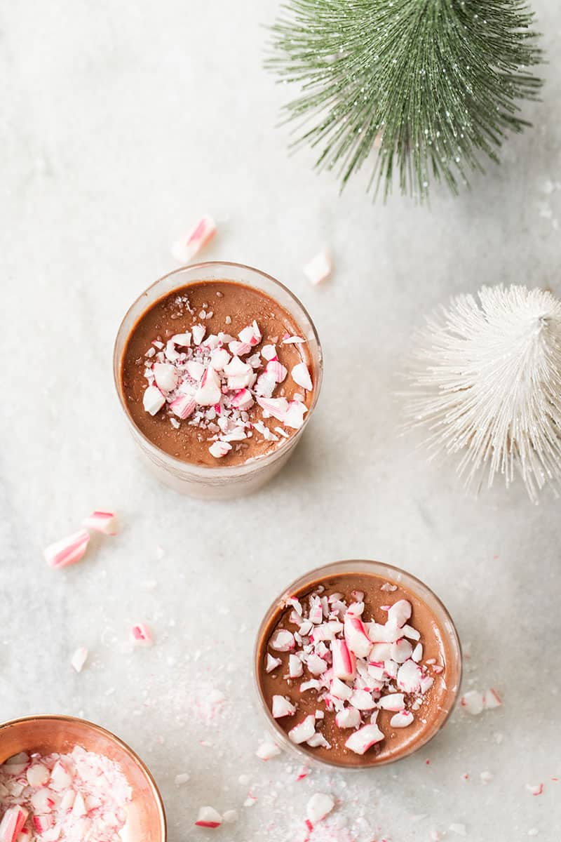 Chocolate Panna Cotta recipe with crushed candy canes