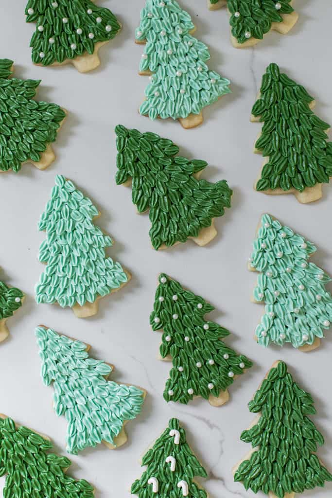 Christmas sugar cookies with green frosting.