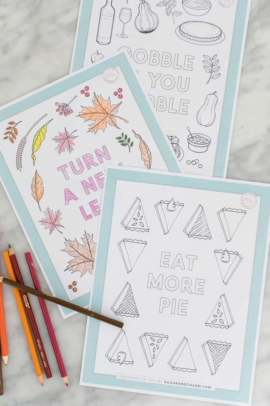 Eat more pie Thanksgiving coloring pages