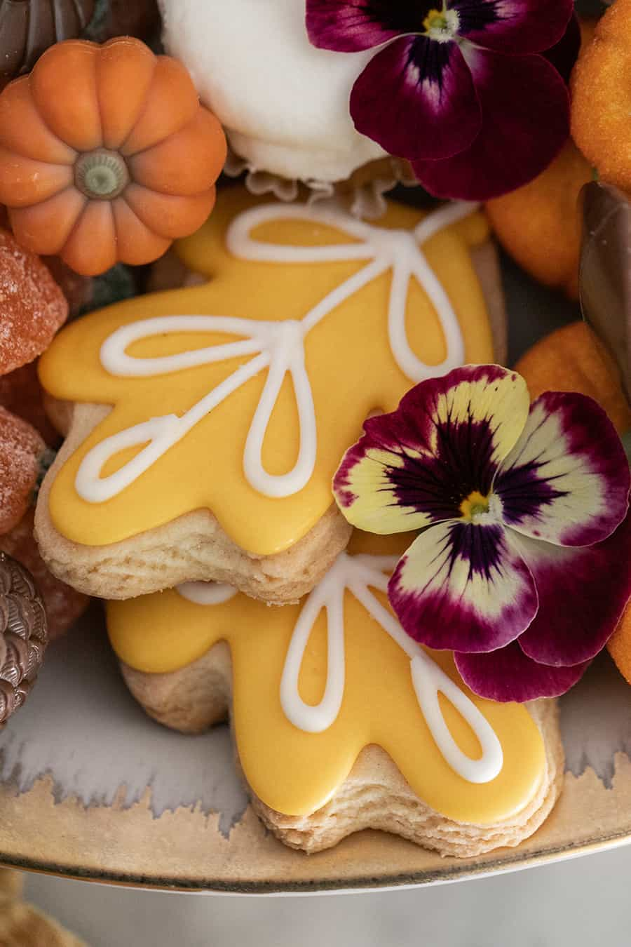 Fall cookies and an edible flower.