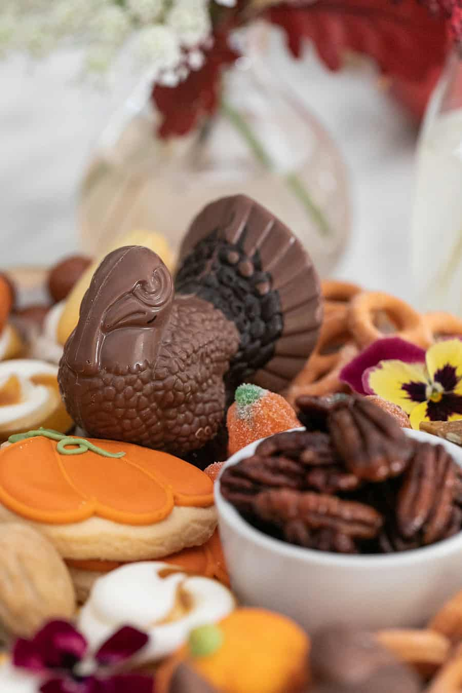 Chocolate turkey on an easy Thanksgiving dessert platter.