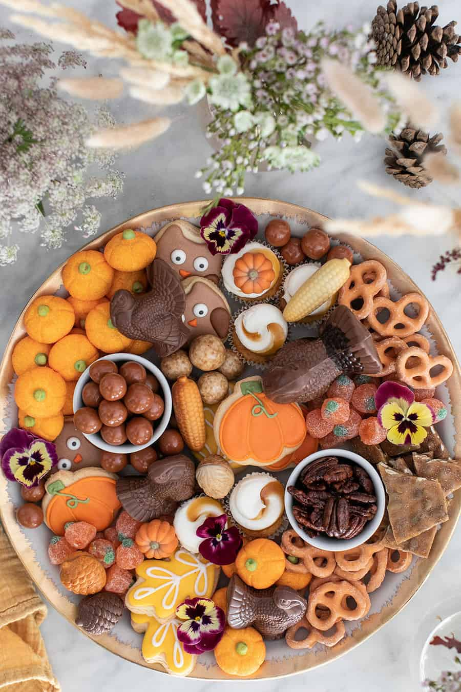Easy Thanksgiving dessert platter filled with fall treats.