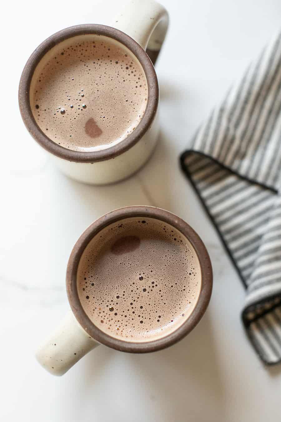 The best hot chocolate recipe in large mugs.