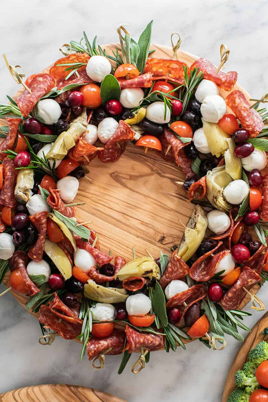Antipasto skewers for Christmas appetizer