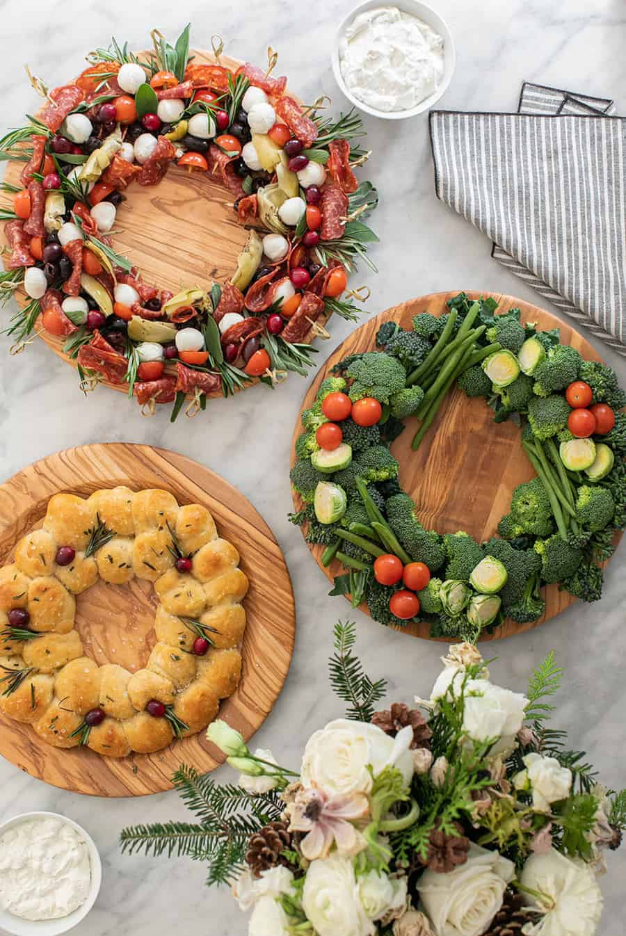 Three Christmas wreaths appetizers