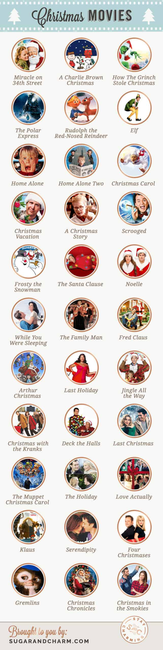 A list of Christmas movies with pictures and titles.