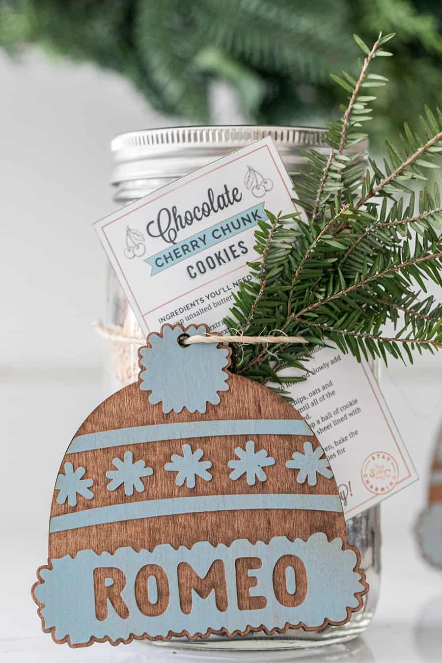 Chocolate cherry chunk cookie mix in a jar for a gift