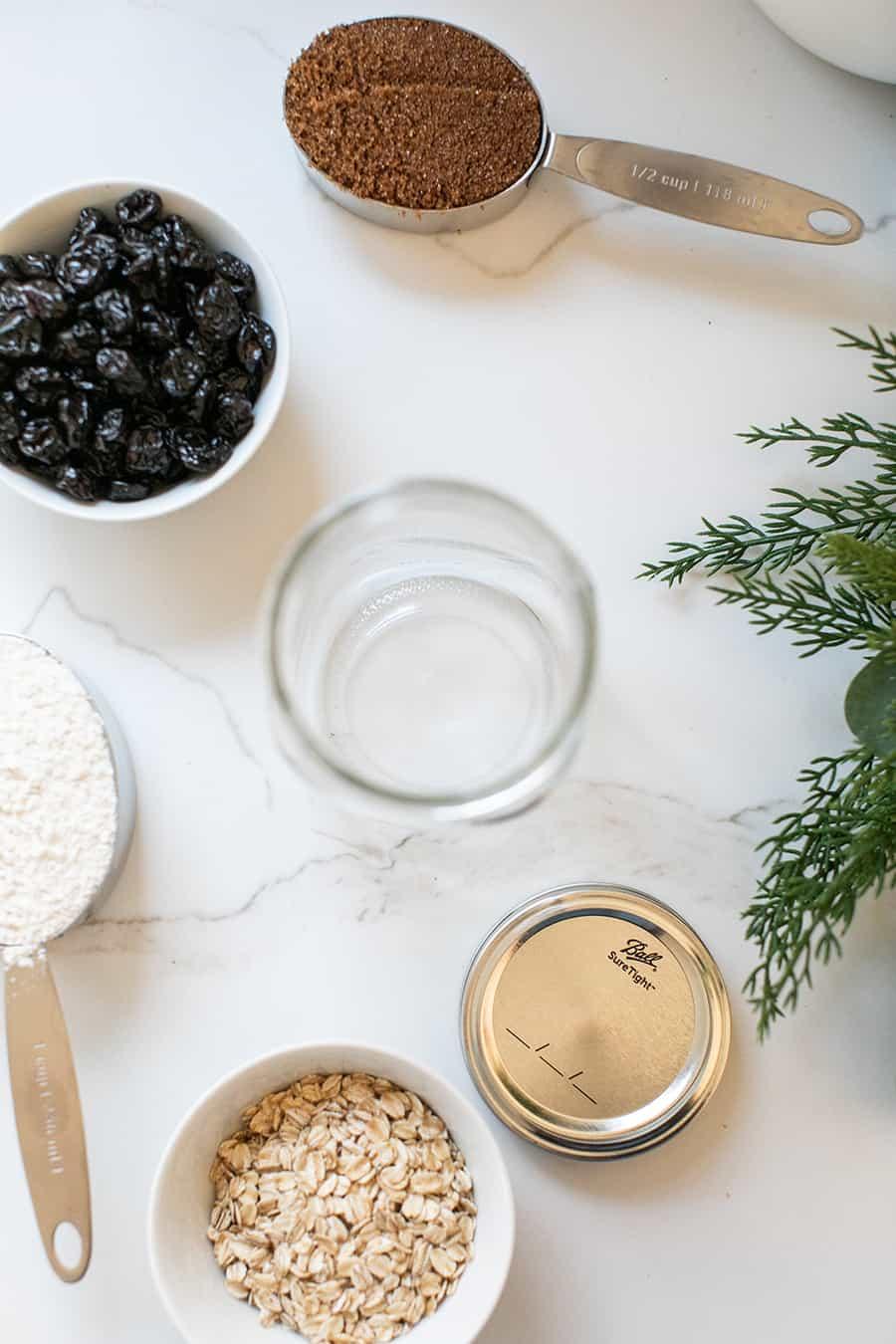 Ingredients to make cookies in a jar.