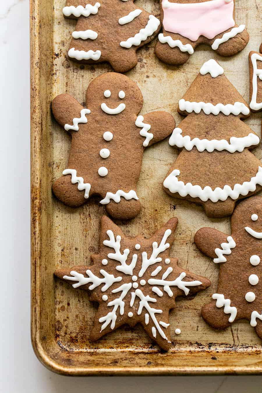 Gingerbread cookies on a baking sheet
