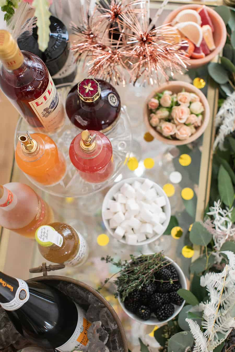 New Year's Eve Champagne Bar with toppings, flowers and more