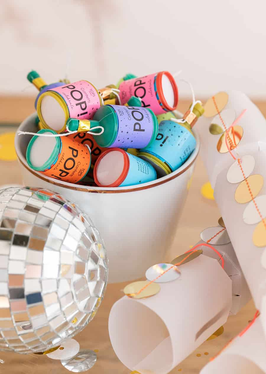 Party poppers and confetti