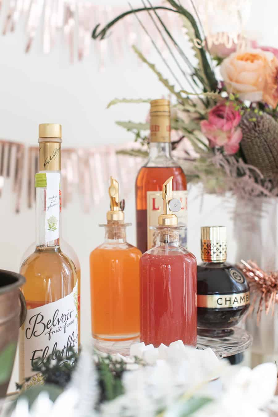 Juice, gin, liqueurs on a Champagne Bar