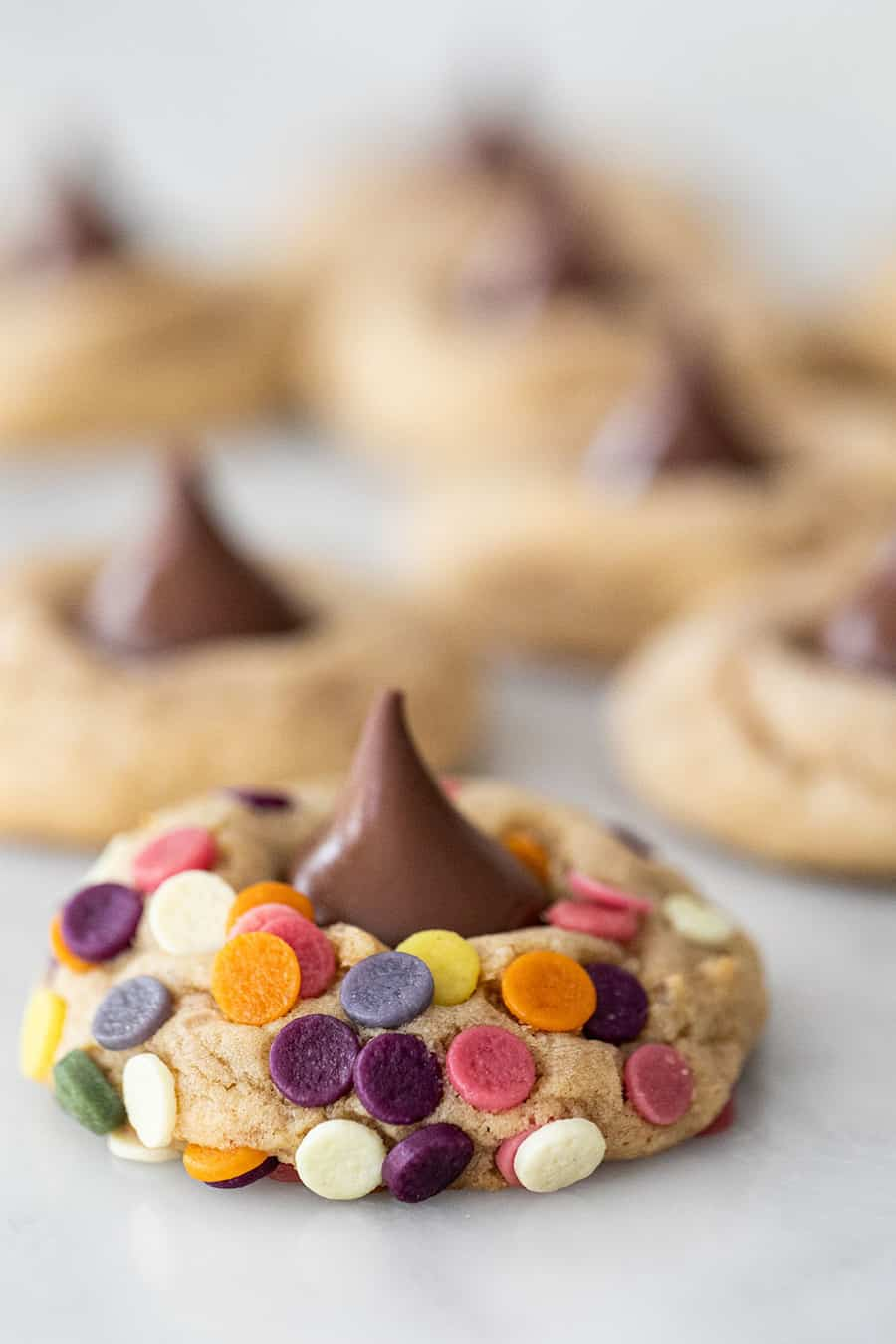 Peanut Butter Blossom cookies with sprinkles