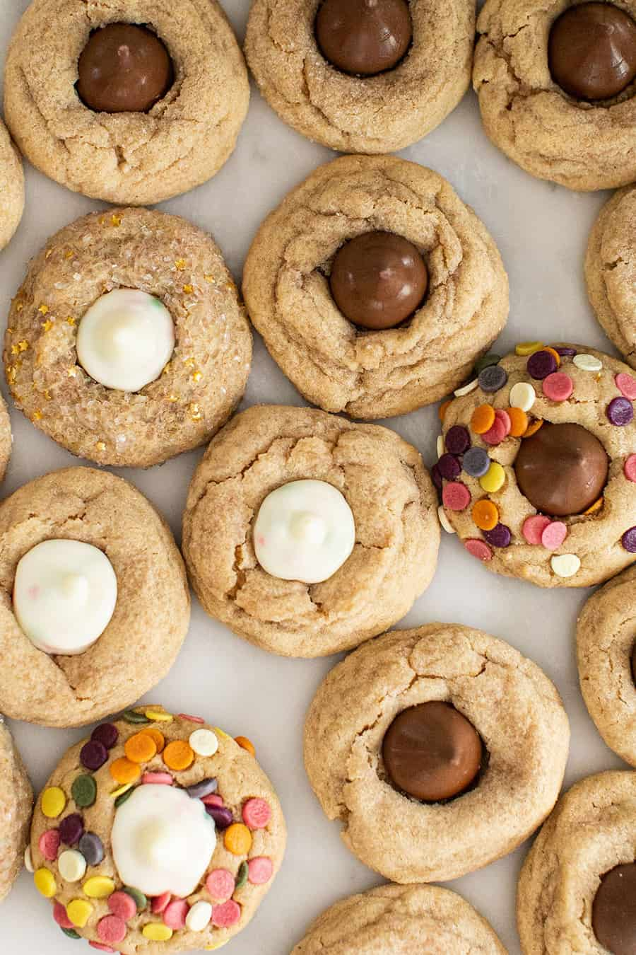 Peanut butter blossom cookies with different flavored Hershey kisses