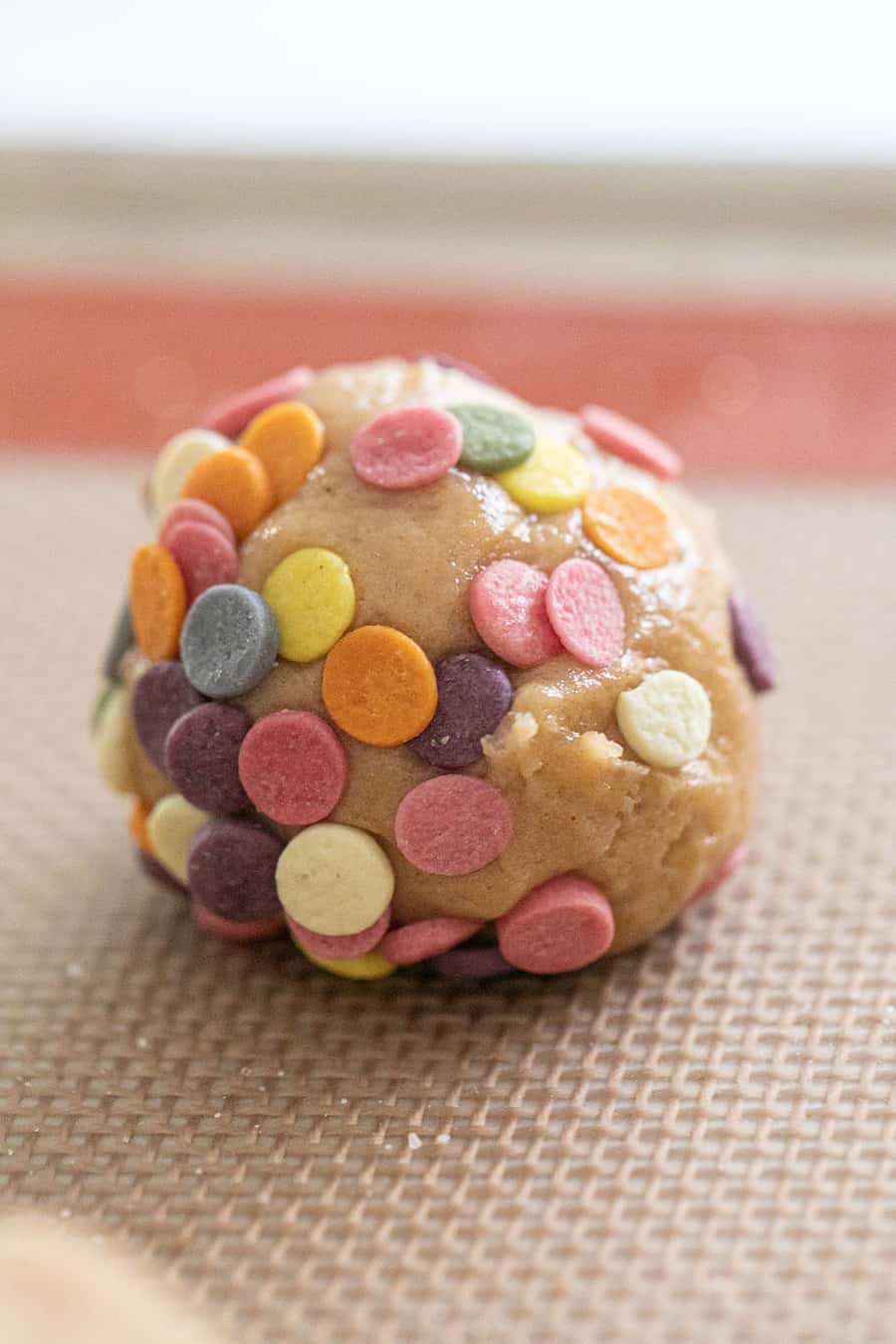 Cookie dough ball with colorful sprinkle