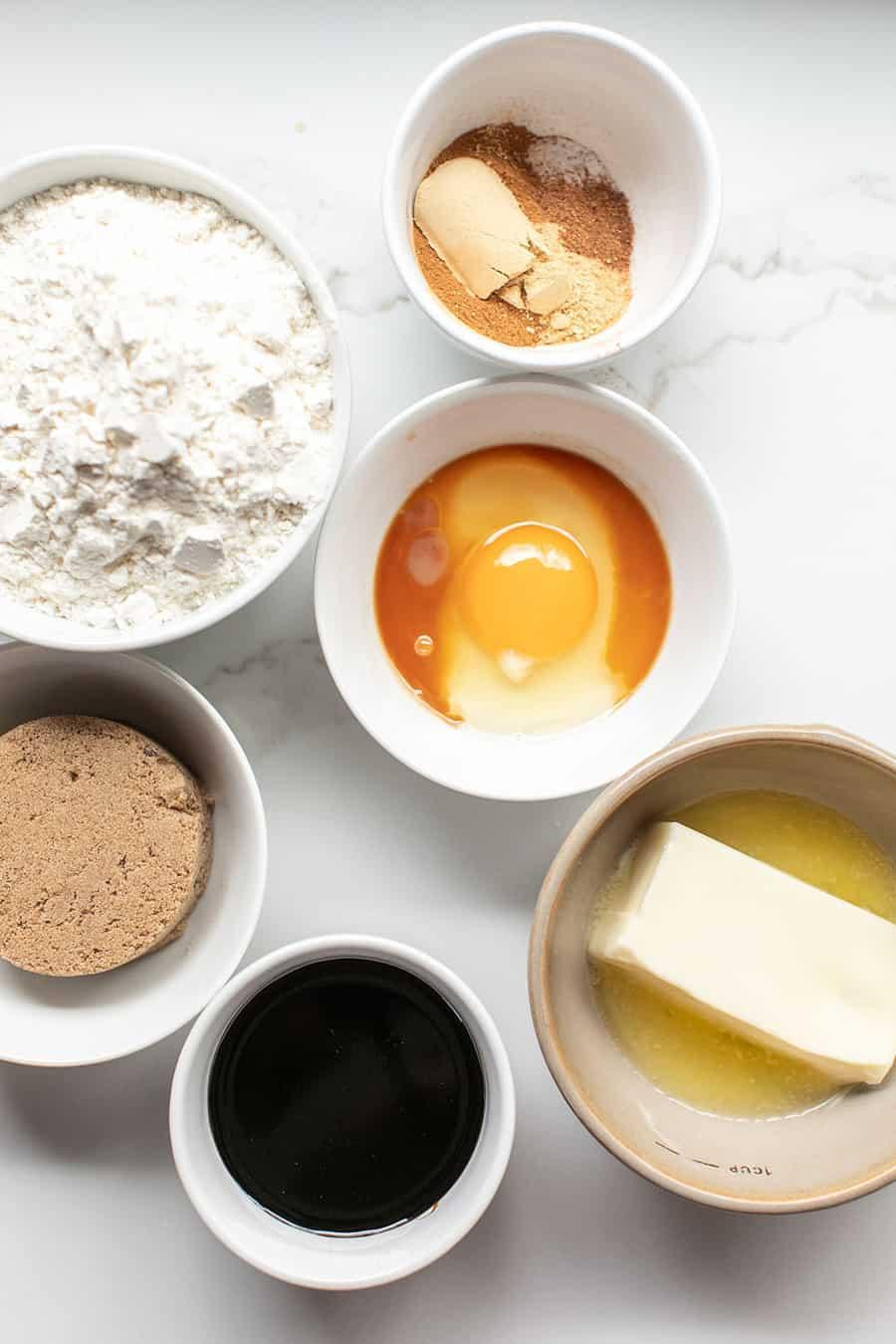 Ingredients to make gingerbread cookies