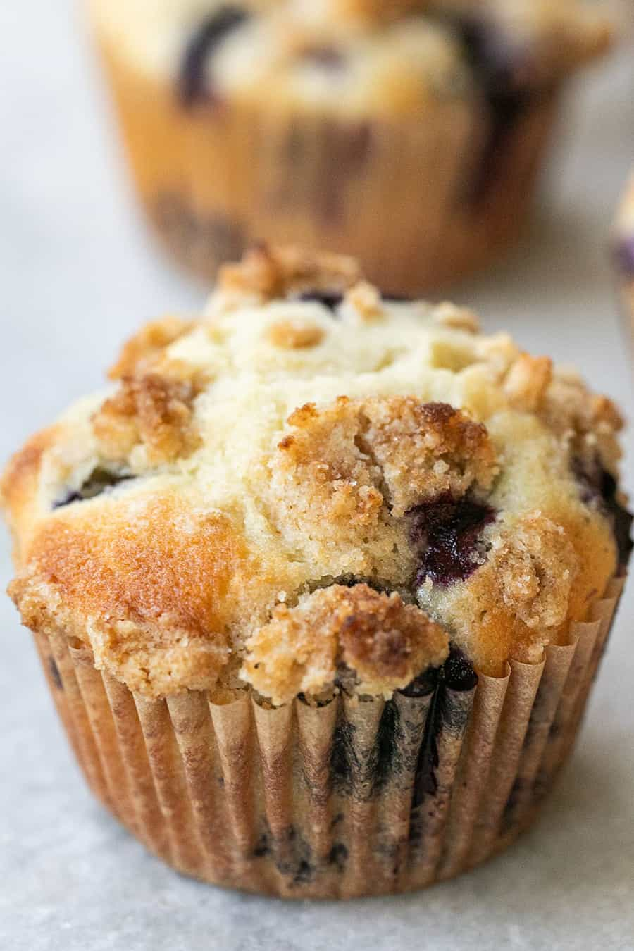 Blueberry muffins with a golden brown top