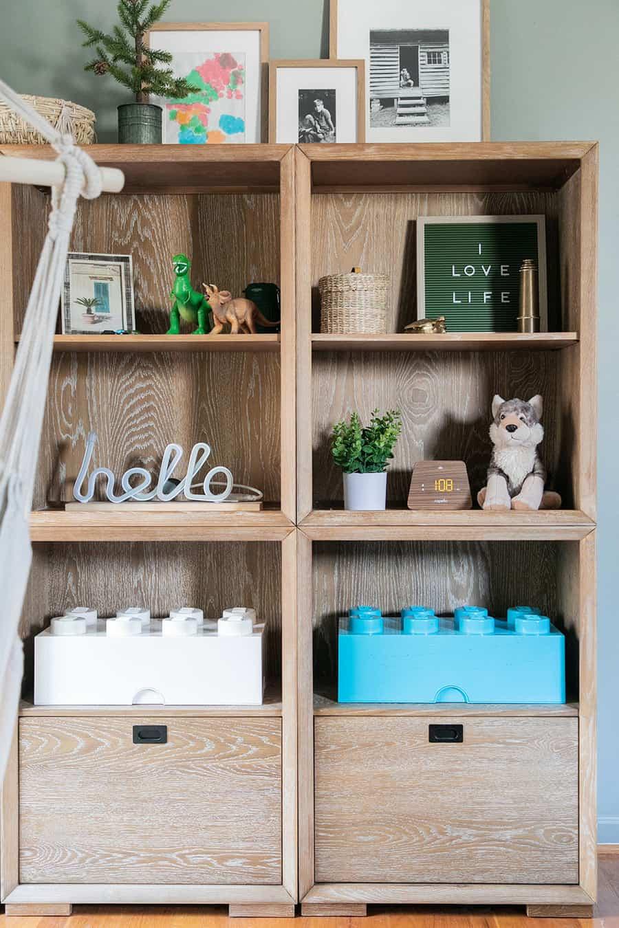 Book shelf with lego blocks in kids room