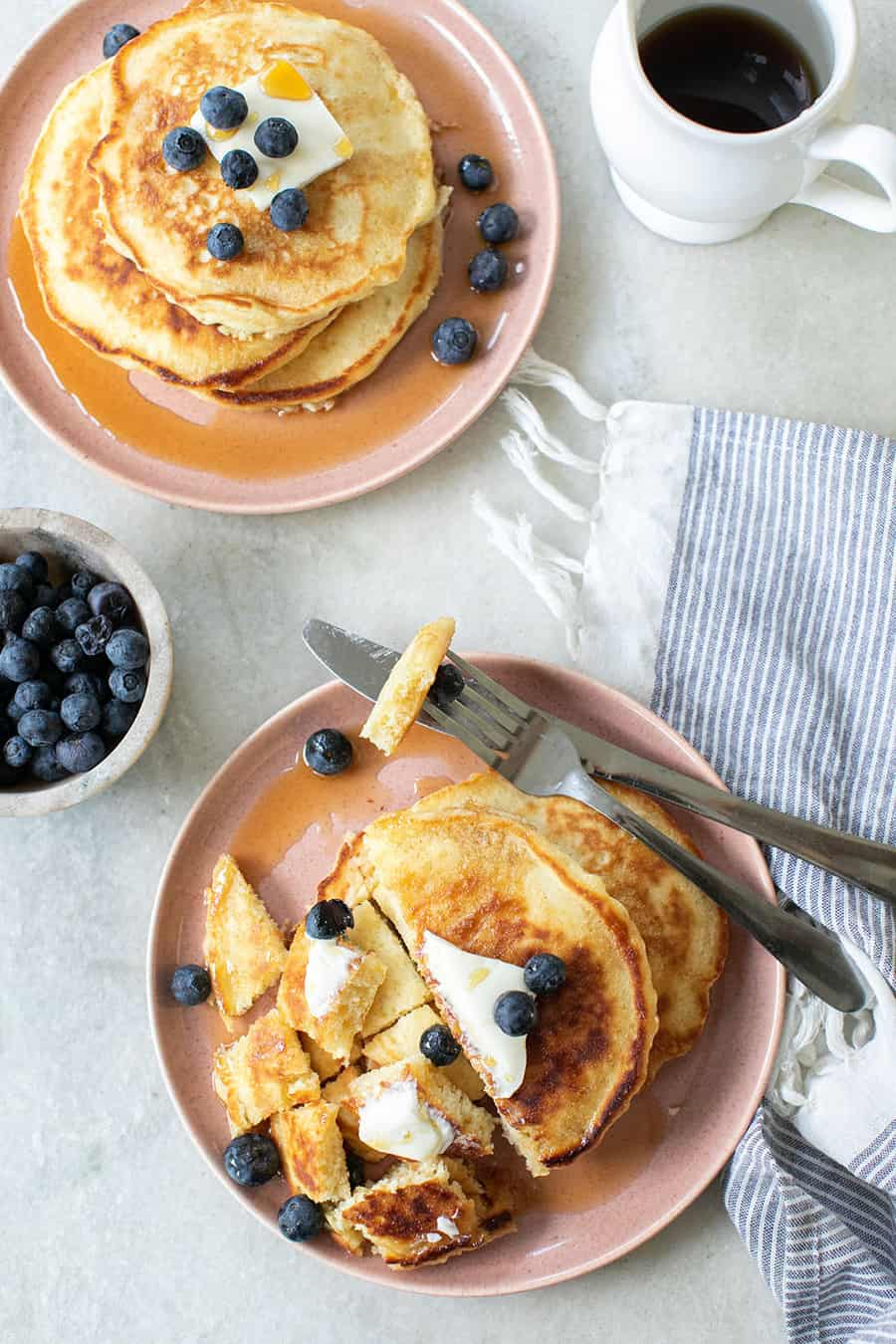 pancakes on a plates with blueberries