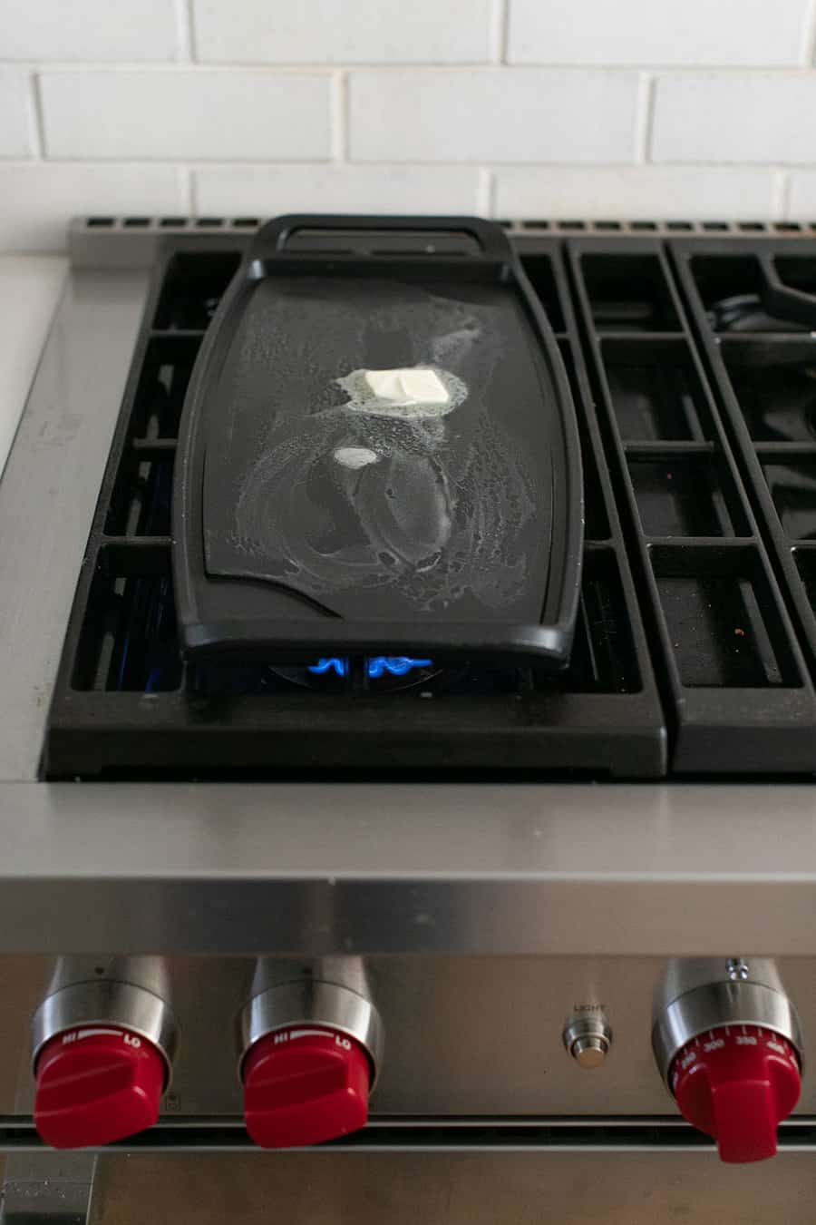 Heating a griddle on the stove top