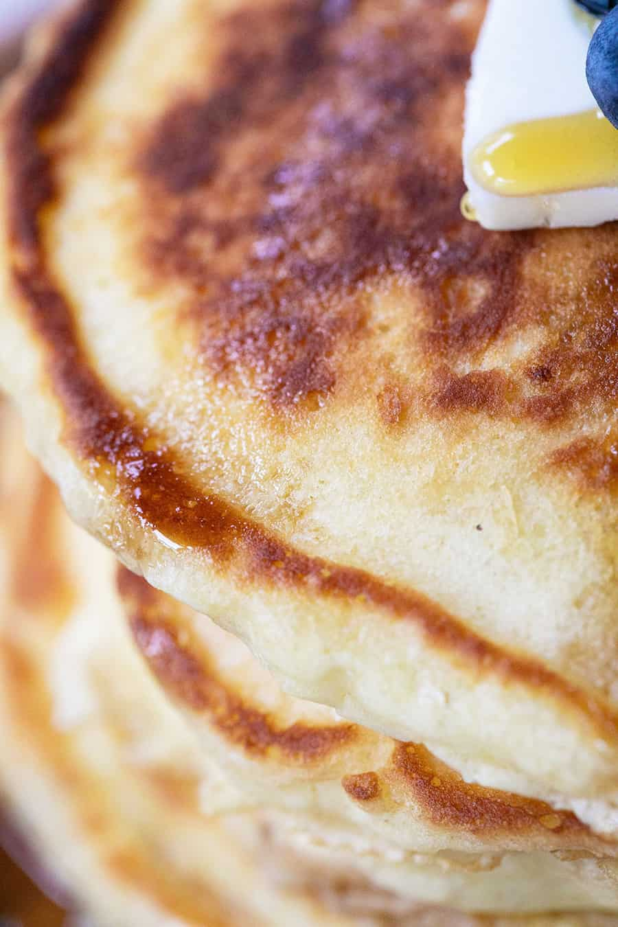 Close up of buttery pancakes