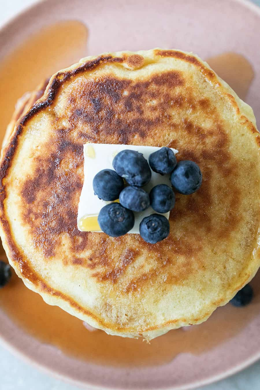 Homemade Pancake Recipe with butter and blueberries