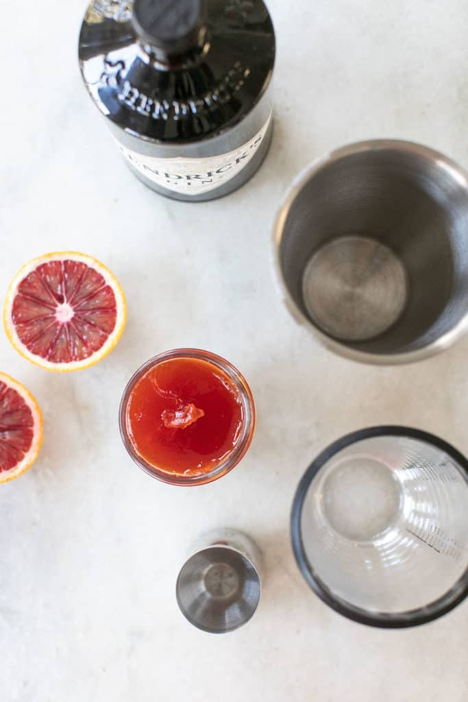 ingredients to make a red pepper jelly cocktail