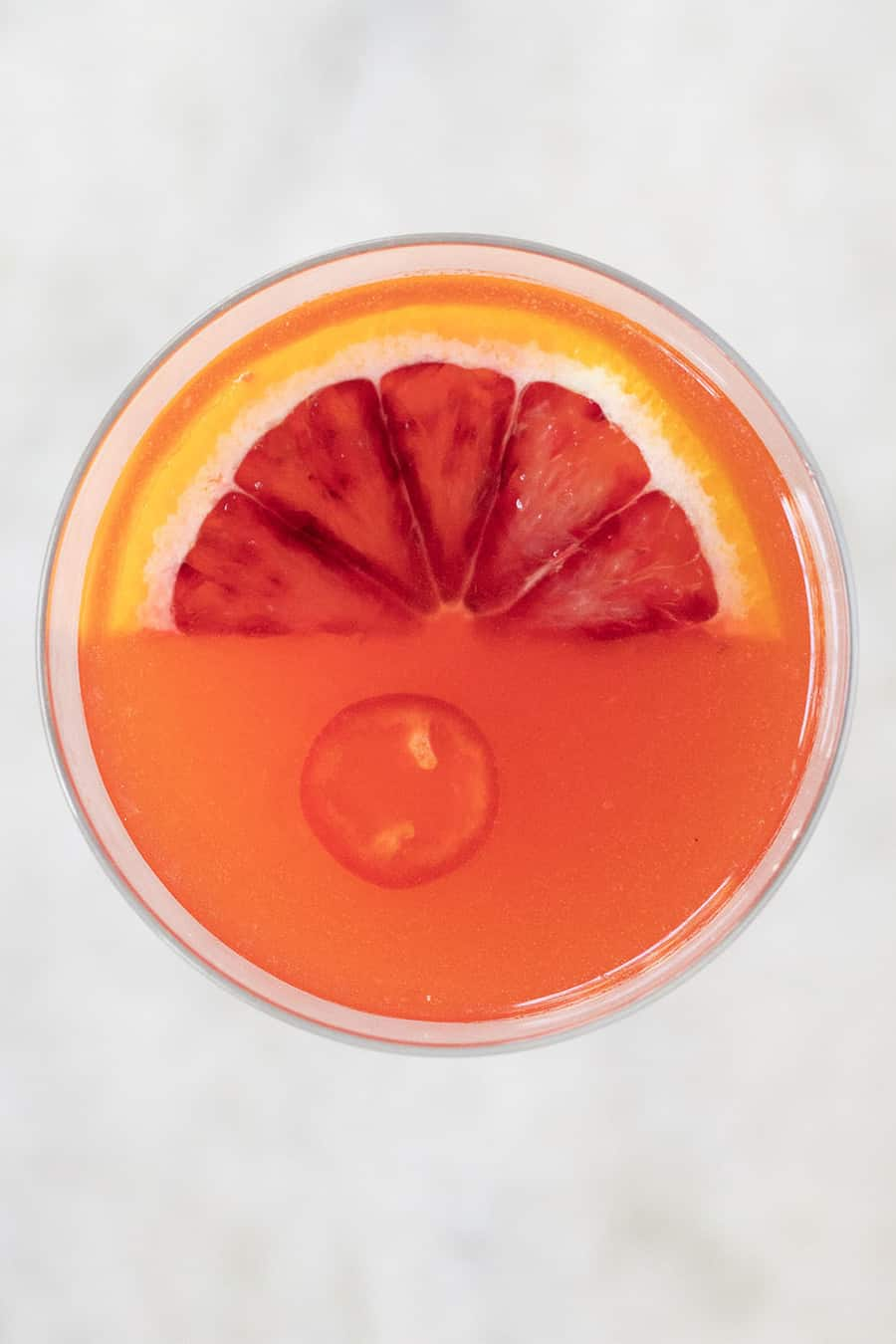 Spicy cocktail recipe with gin, blood orange and red pepper jello