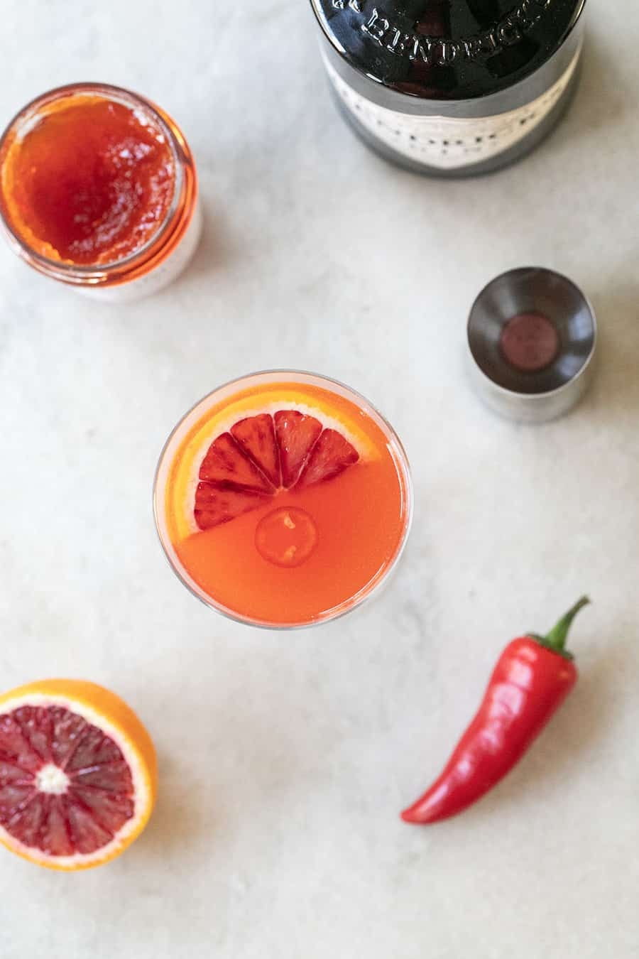 Red pepper jelly cocktail with blood orange