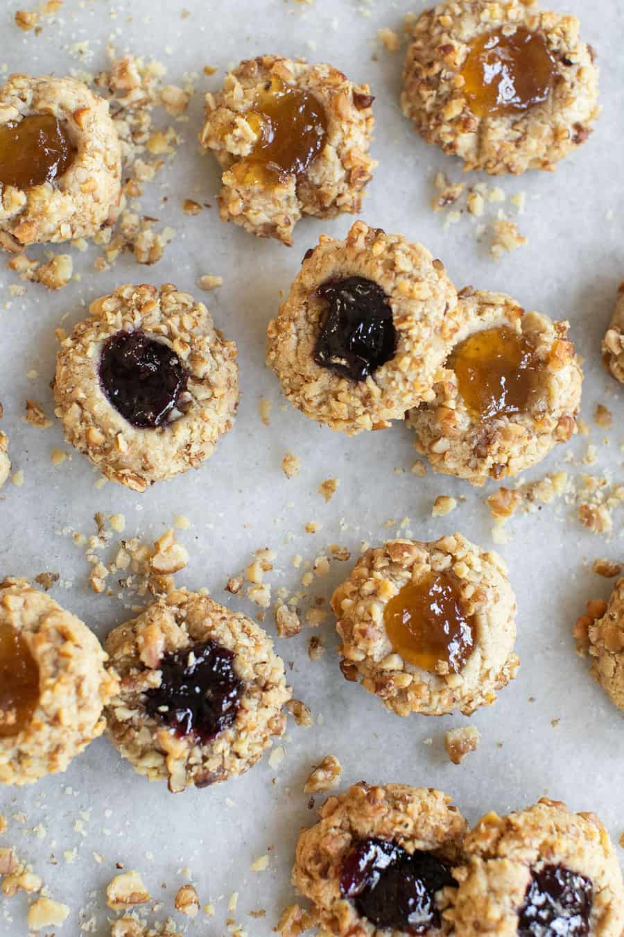 Thumbprint cookies filled with jam.